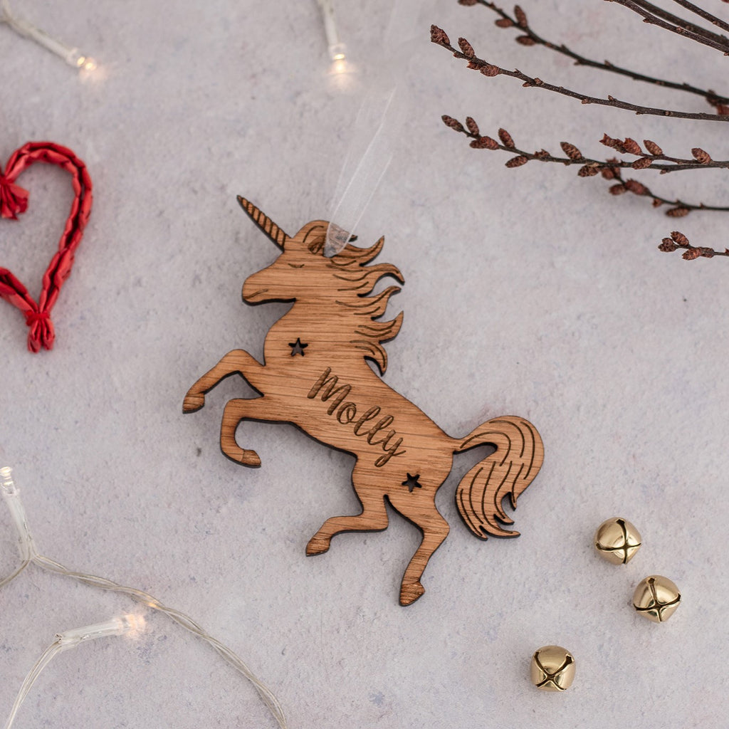 Wooden Unicorn Personalised Hanging Decoration