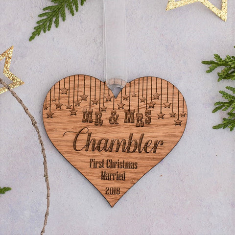 Decorative Heart First Christmas Married Decoration - Wood or Mirror