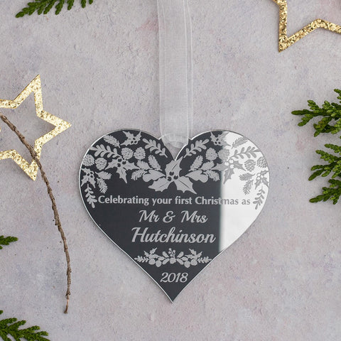 Detailed First Christmas Married Decoration - Wood or Mirror
