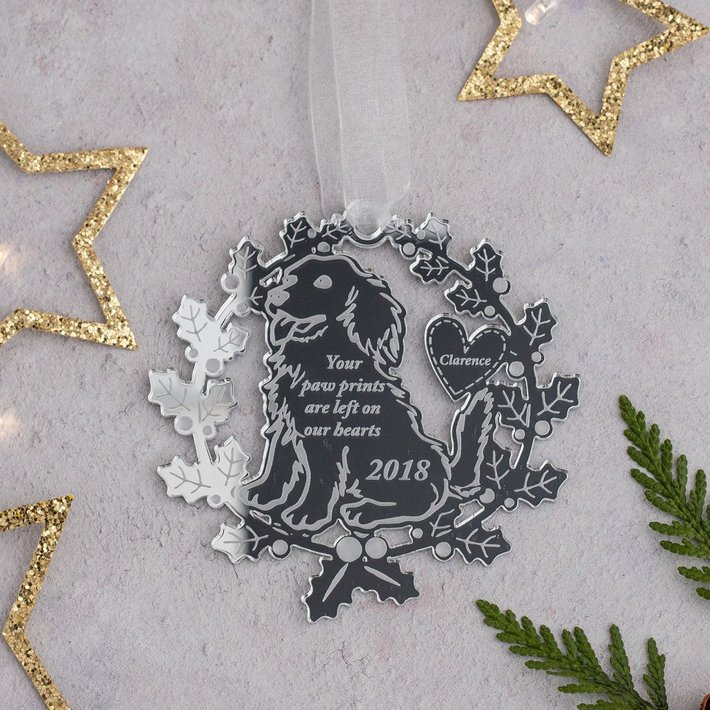 Silver Mirrored Acrylic Wreath Tree Decoration - Dog