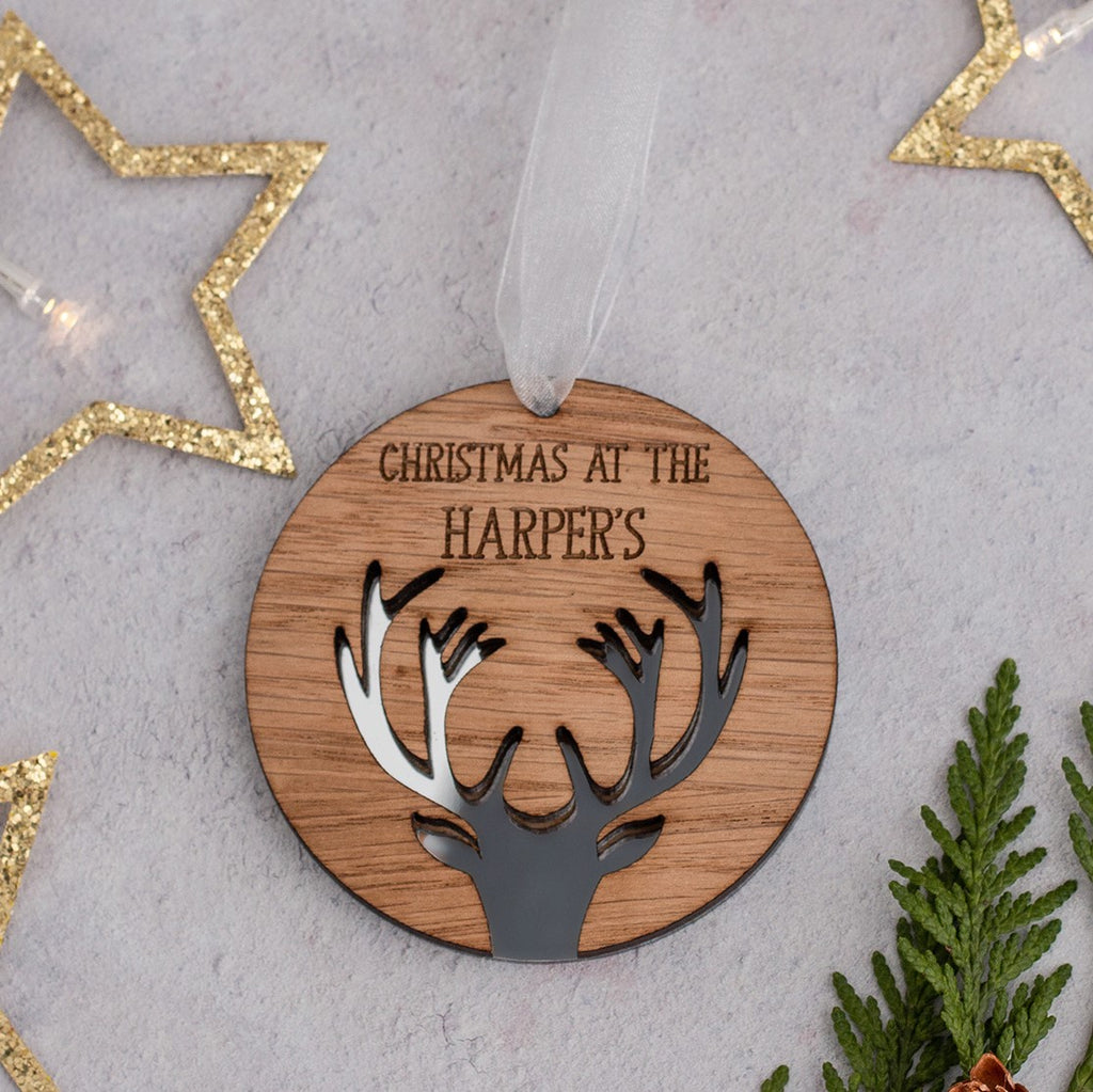 Mirrored acrylic personalised antler decoration