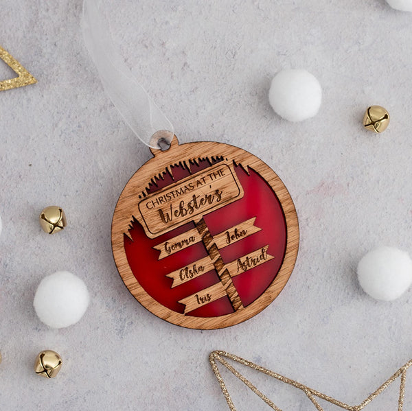 Personalised Christmas North Pole Sign Post Bauble - available in a choice of colours