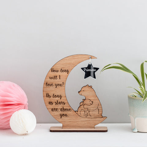 'How long will I love you.....' Personalised Moon, Star and Bear decoration