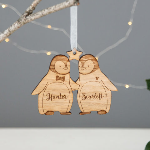 Pair of Penguins Wooden Christmas Decoration