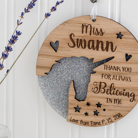 Unicorn Hanging Wall Plaque - Teacher Appreciation Gift