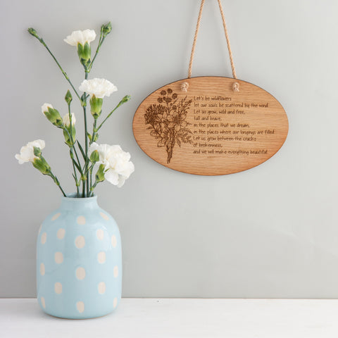 Wildflower Poem Wall Plaque - The Bespoke Workshop