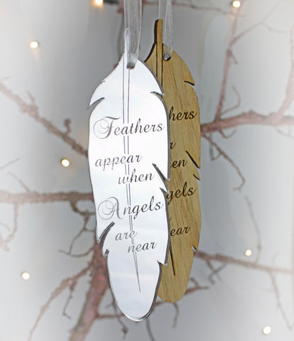 Remembrance hanging heart decoration feathers appear when angels are near