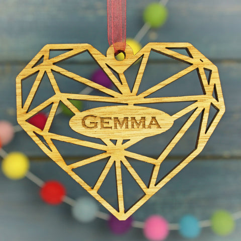 Geometric Heart Modern Personalised Christmas Decoration