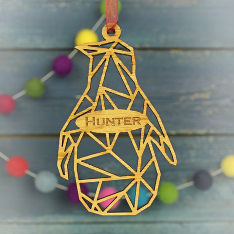 Geometric Penguin Modern Personalised Christmas Decoration
