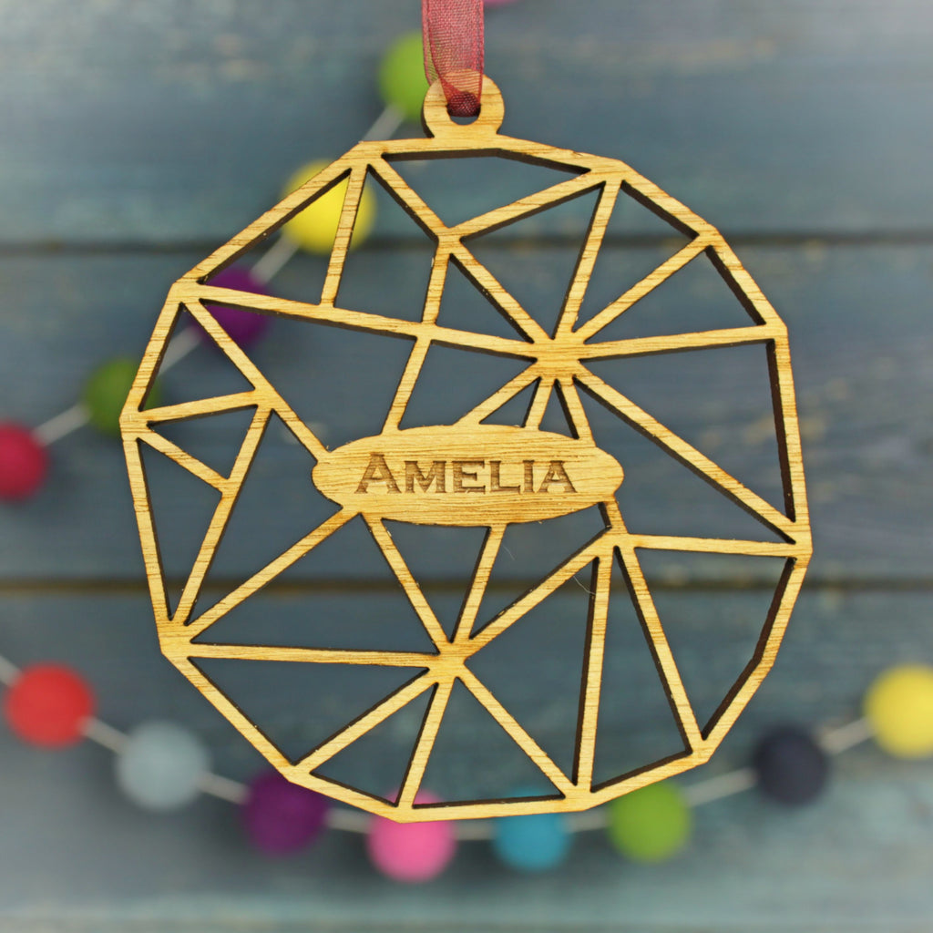 Geometric Round Modern Personalised Christmas Decoration