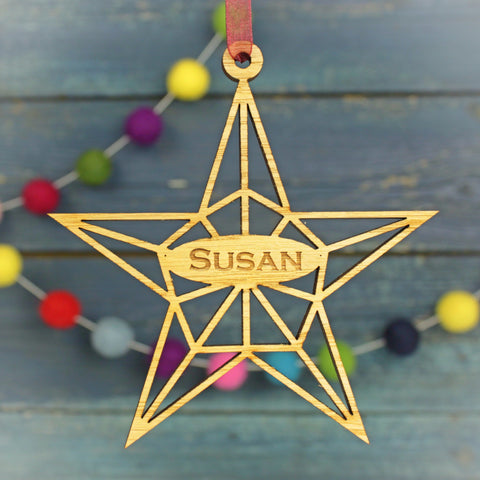 Geometric Star Modern Personalised Christmas Decoration