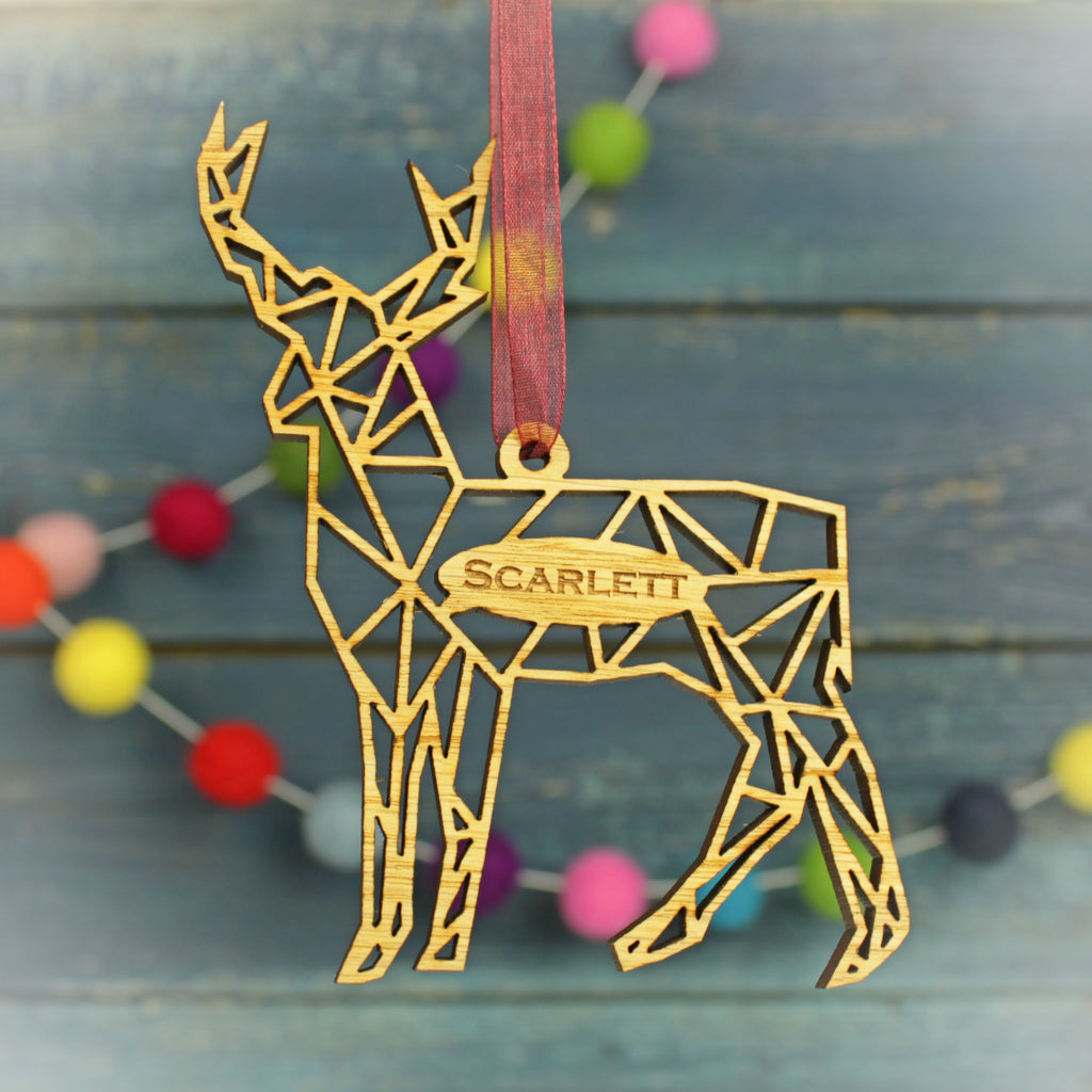 Geometric Reindeer Modern Personalised Christmas Decoration