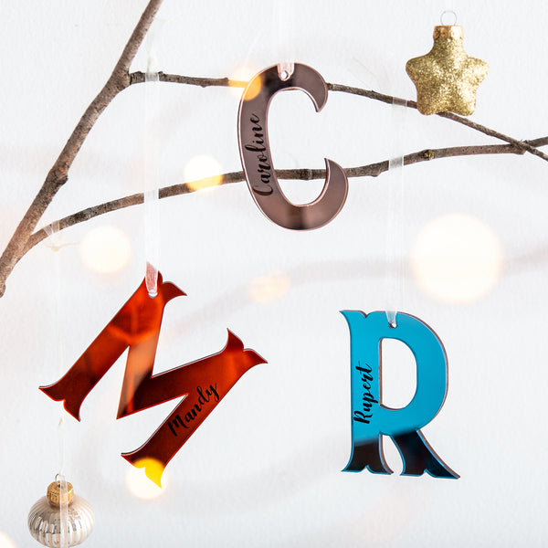 Chunky Coloured Mirrored Personalised Initials - Hanging Alphabet Decoration