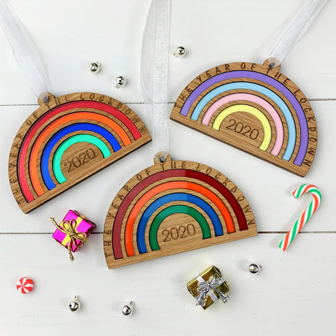 Personalised 'The Year Of The Lockdown' 2020 Commemorative Rainbow Decoration