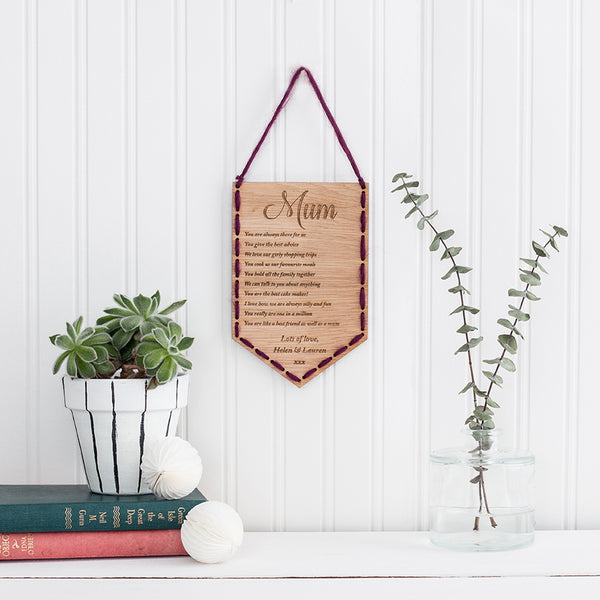 10 reasons why I love you, personalised wooden stitched banner