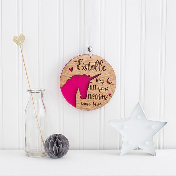 Unicorn Hanging Wall Plaque - Personalised by engraving your own text