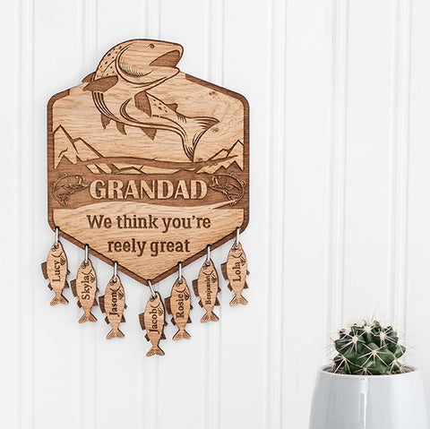 Personalised Fishing Plaque with Hanging Fish