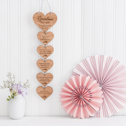 Hanging Wooden Personalised Hearts
