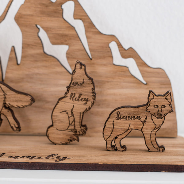 Family of Wooden Personalised Wolves