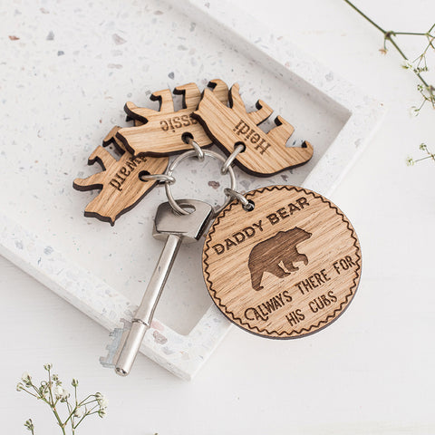 Personalised Daddy Bear & Cub Keyring - The Bespoke Workshop