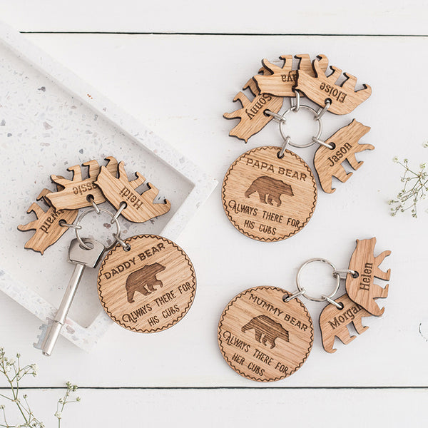 Personalised Bear & Cub Wooden Keyring Set - The Bespoke Workshop