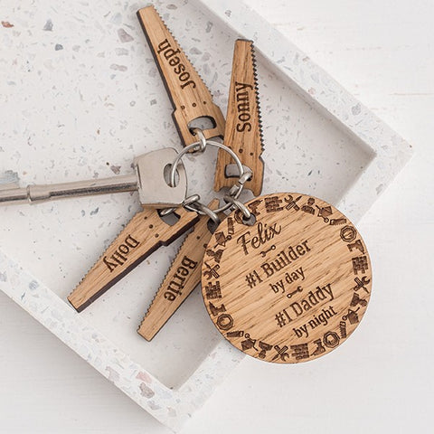 Personalised Tradesman Wooden Keyring & Charm Set