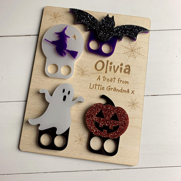 Set of 4 Children's Halloween Finger Puppets - Wood or Acrylic