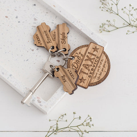 Personalised Thank You Taxi Keyring Charm Set