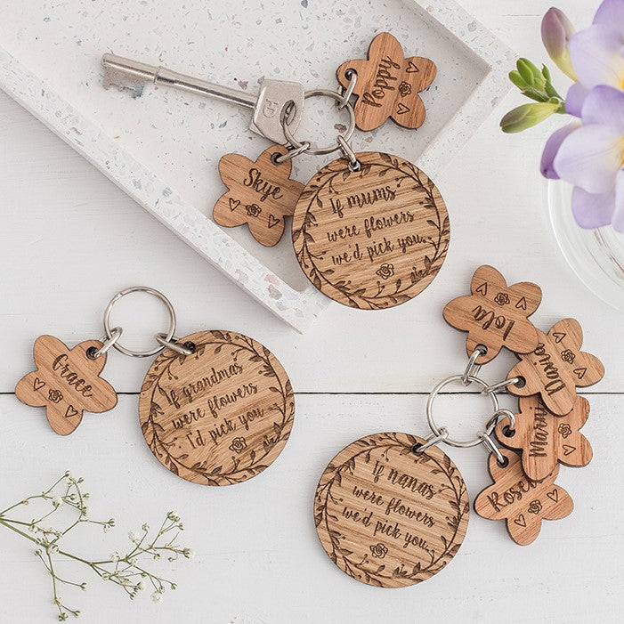 'If ....... were flowers...' Personalised Oak Keyring with Charms