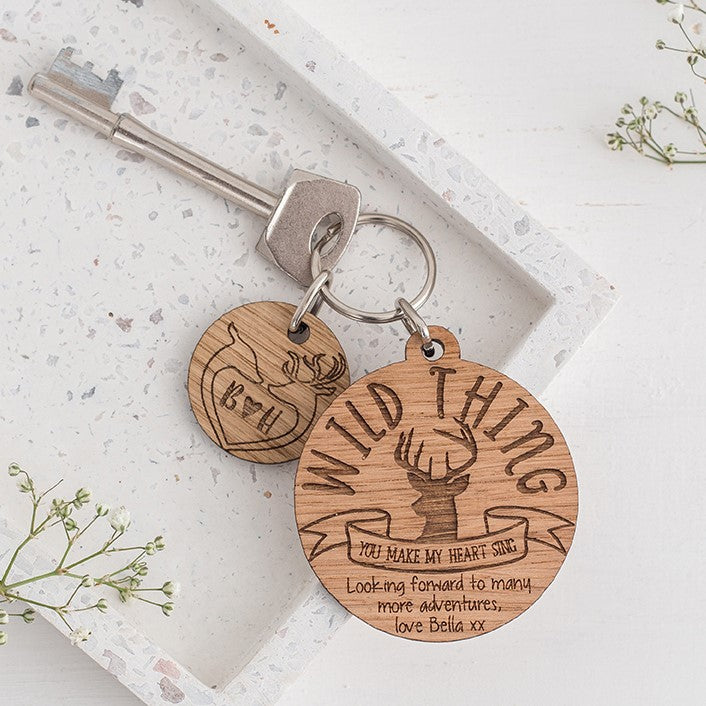 Wild Thing Personalised Keyring & Charm Set - Antler Design