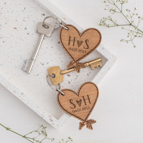 A pair of Heart Keyrings - Personalised with initials and date