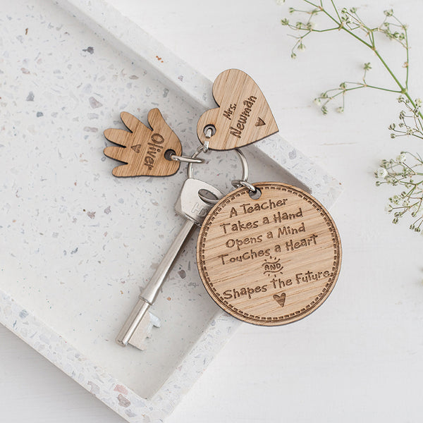 Teacher keyring and personalised heart & hand charm set
