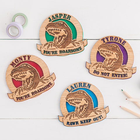 Dinosaur Hanging Wall/Door Plaque - Personalised by engraving your own text