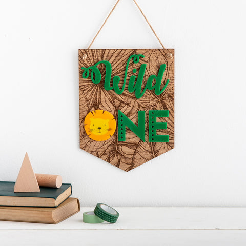Wild One Tropical Leaf Engraved Wall Plaque