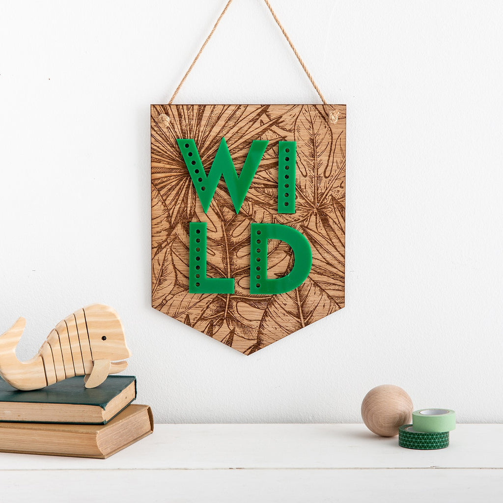 WILD Tropical Leaf Engraved Wooden Banner Wall Plaque