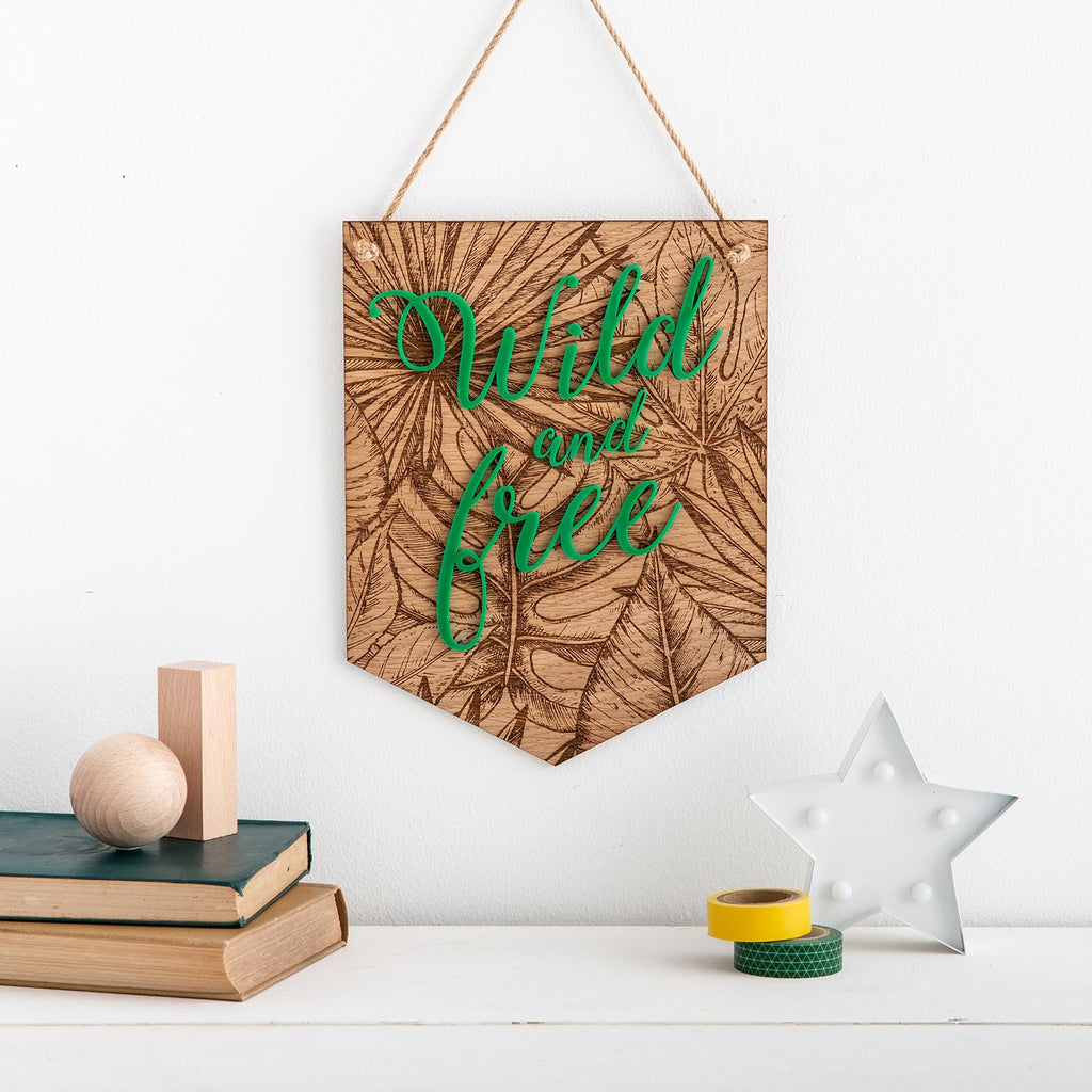 Wild and Free Tropical Leaf Wooden Banner Wall Plaque