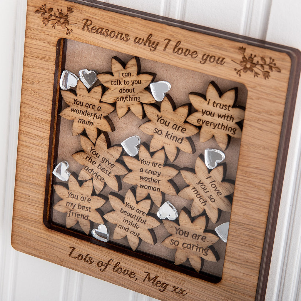 Personalised Frame, Flower Shaped Reasons Why You Love Someone - The Bespoke Workshop