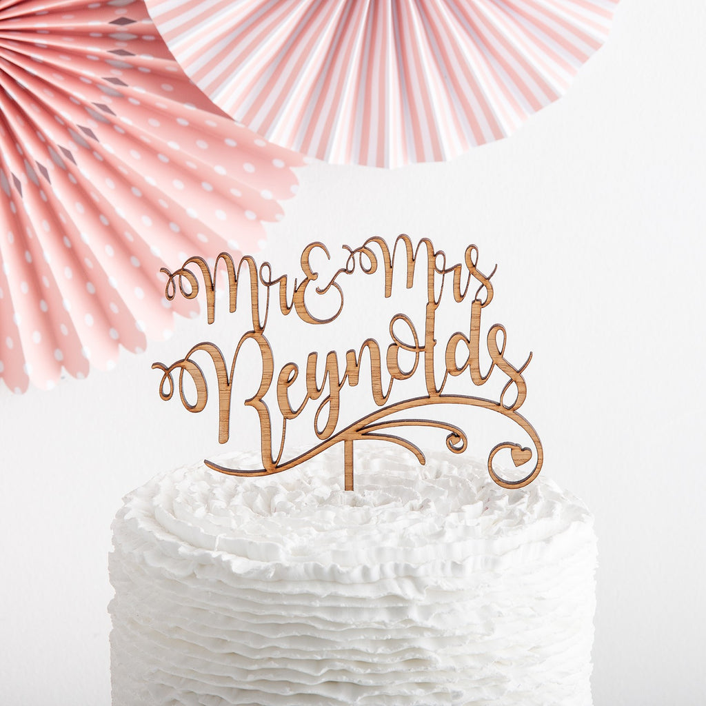 Personalised Wooden Mr & Mrs Script Cake Topper