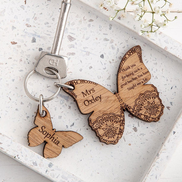 Butterfly keyring and charm set