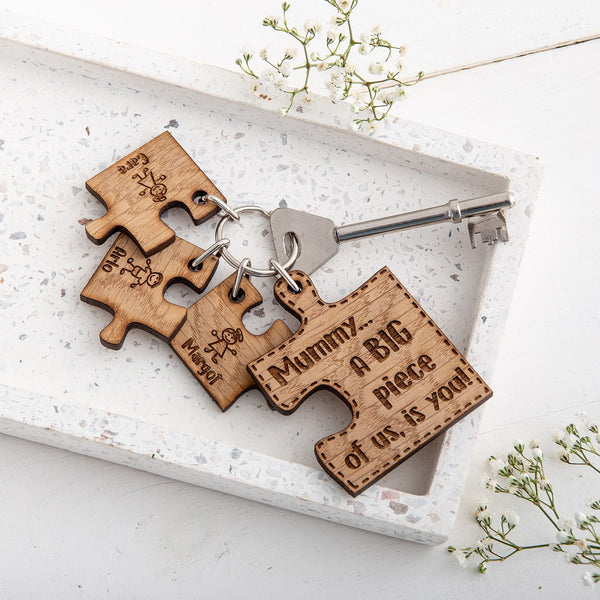 Personalised Mothers Day Puzzle Keyring - The Bespoke Workshop