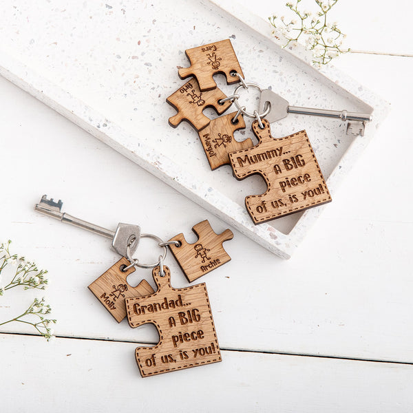 Personalised Puzzle Family Keyring - The Bespoke Workshop