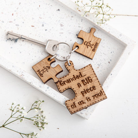 Personalised Puzzle Keyring for Grandad - The Bespoke Workshop
