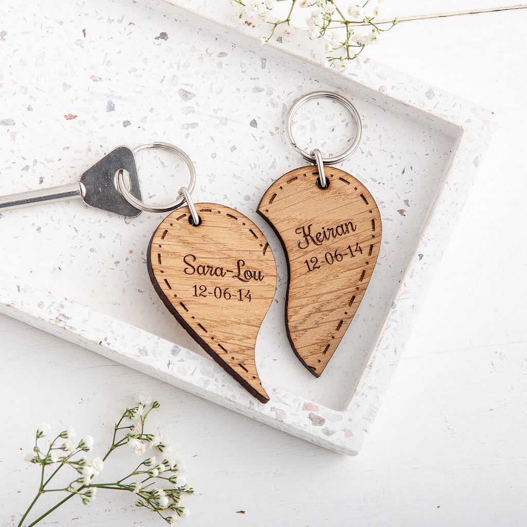 Couples Split Heart Keyrings - Personalised with names and date