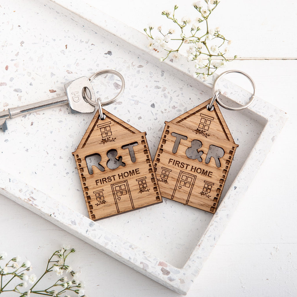 Personalised New Home Keyrings - Set of 2
