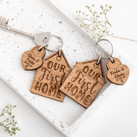 Personalised 'Our First Home' Keyrings & Charms - Set of 2