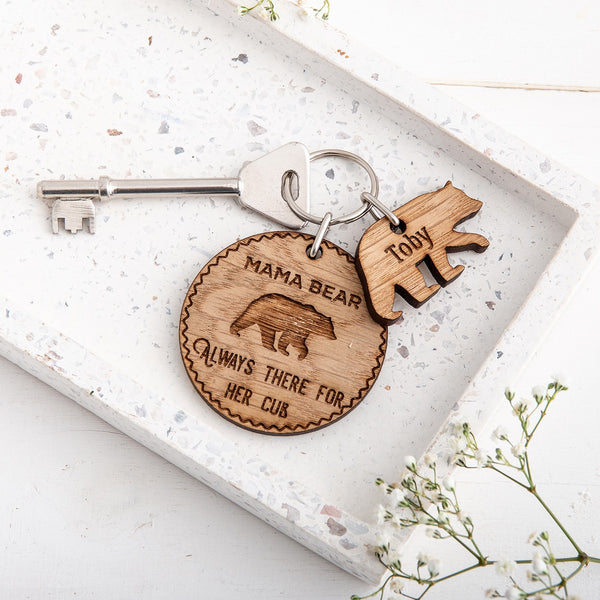Personalised Mama Bear & Cub Keyring - The Bespoke Workshop