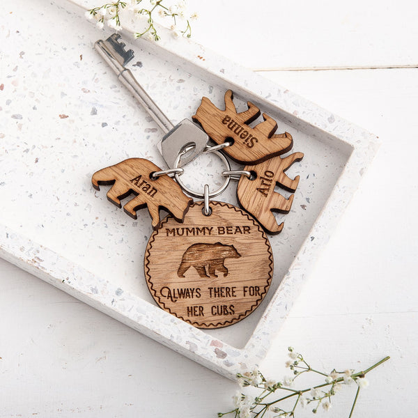 Personalised Mummy Bear & Cub Keyring - The Bespoke Workshop
