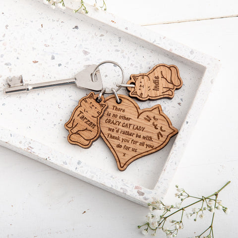 Cat keyring and charm set - The Bespoke Workshop