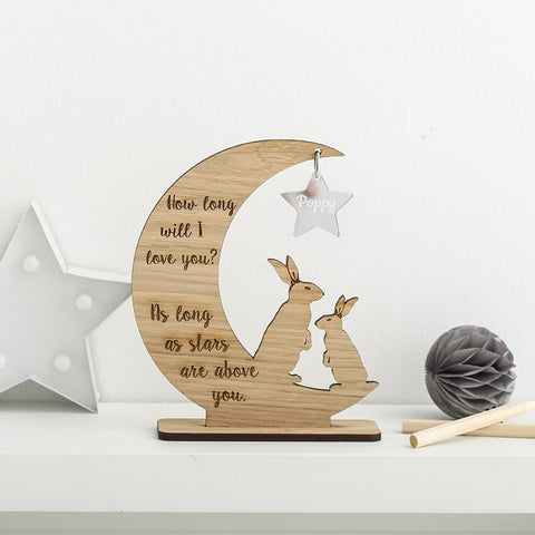 'How long will I love you.....' Personalised Moon & Star decoration