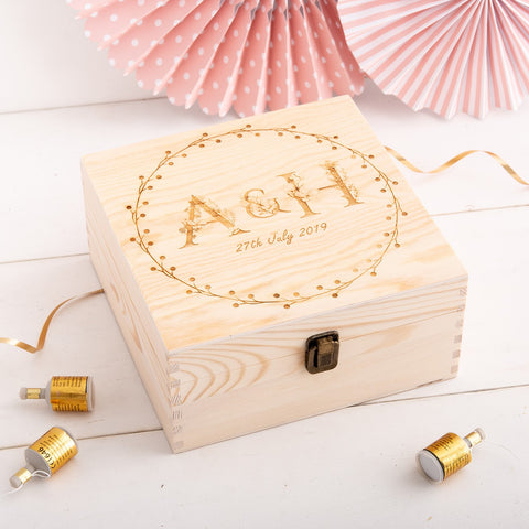 Couples Initials Monogram Wedding Keepsake Box